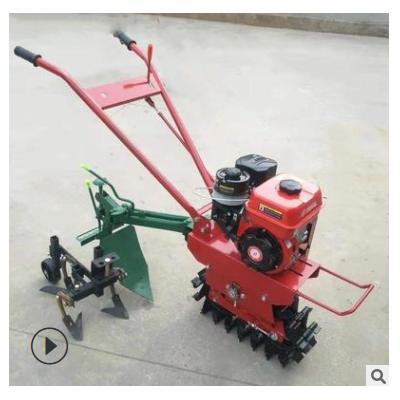 履带式汽油微耕机 小型农用犁地机 多用途单履带犁田机